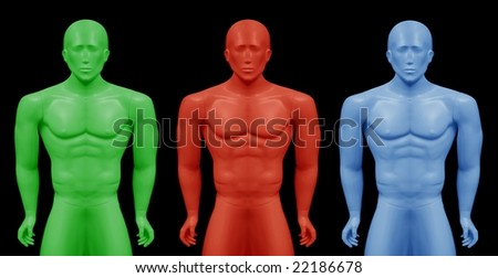 Montage from  image of real mannequin, performed in three colors. - stock photo