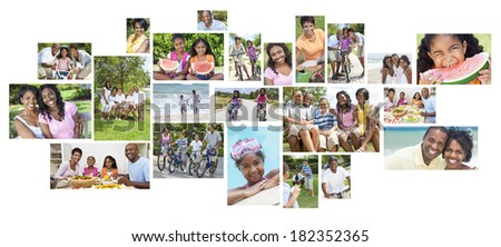 Montage happy African American family parents children men women boys girls healthy active lifestyle holiday vacation beach, playing in garden, cycling & eating healthy food. - stock photo