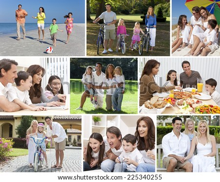 Montage happy families parents children boys girls enjoying an active lifestyle holiday vacation, cycling, beach, playing, swimming pool, eating healthy food, video games & using laptop computer - stock photo
