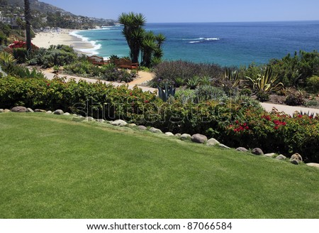 Montage hotel lawn in Laguna Beach, California.