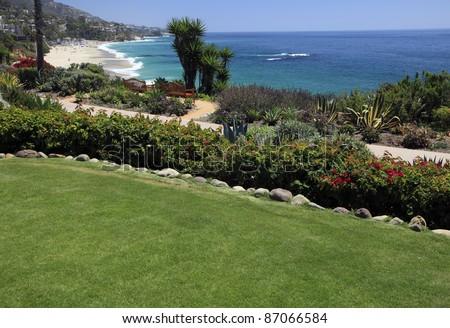 Montage hotel lawn in Laguna Beach, California. - stock photo
