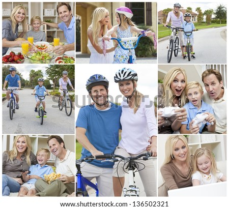 Montage of a happy active young family, parents man and woman, two children a boy and girl relaxing at home, eating healthy food, playing video games and cycling. - stock photo
