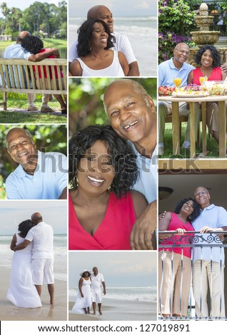 Montage of a happy senior African American couple together outside, active retirement in the summer sunshine at the beach in a garden eating healthy food - stock photo