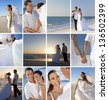 Montage of a happy, smiling married couple on their wedding day or honeymoon at a deserted beach celebrating and embracing in the summer sunshine and sunset - stock photo