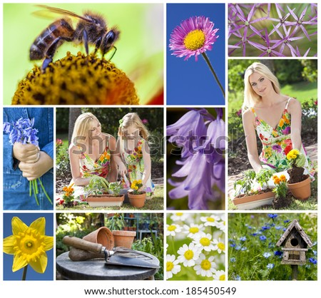 Montage of a mother and young daughter gardening in a beautiful spring garden, planting pots together and flowers coming into bloom. - stock photo
