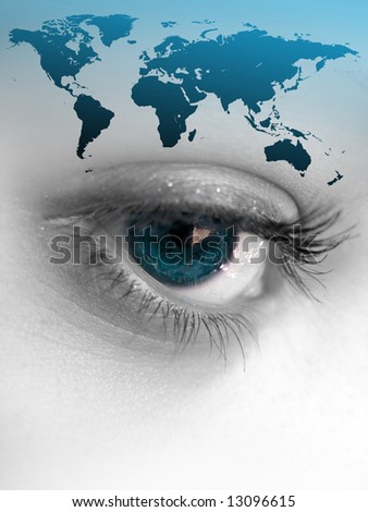 Montage of a pretty color isolated eye with the world continents.  This works for a variety of concepts from travel, to business, or even environmental issues. - stock photo