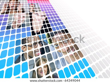 Montage of a variety of people from mixed races and ethnicity isolated over white with negative space. - stock photo
