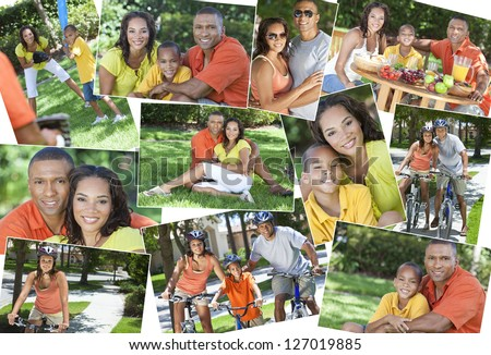 Montage of a young happy African American family, woman, man, father, mother & boy child riding bicycles, playing sports and eating healthy food lunch in the summer sunshine - stock photo