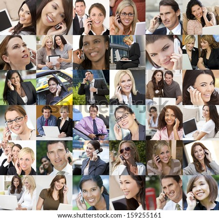 Montage of an interracial business men women businessmen businesswomen network of people using mobile cell phones laptop & tablet computer wireless communication technology - stock photo