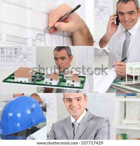 Montage of architect on his office - stock photo