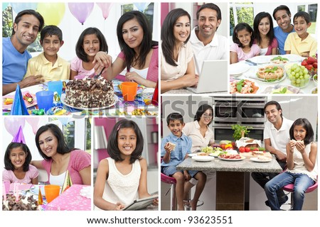 Montage of Asian Indian family eating fresh healthy lifestyle food, using computers and celebrating birthdays - stock photo