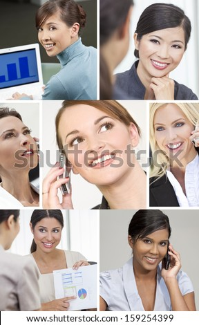 Montage of beautiful successful businesswomen or women working in business meetings using cell phones, & laptop computers.