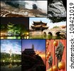 Montage of Buddhist Temples and Scenery in China's Yunnan Province - stock photo