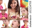 Montage of children eating sweets - stock photo