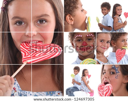 Montage of children with candy - stock photo