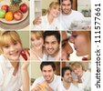 Montage of couple eating a nice healthy breakfast together - stock photo