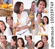 Montage of couple with fruit - stock photo