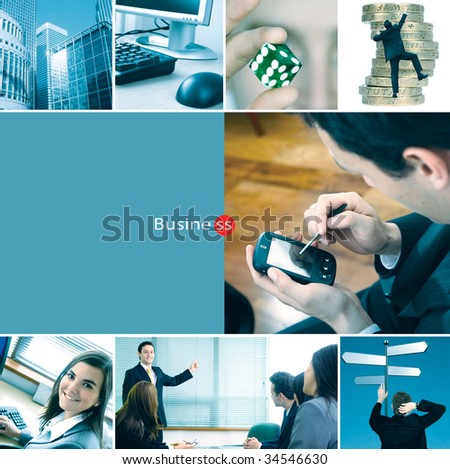 Montage of different corporate related photos - business concepts - stock photo