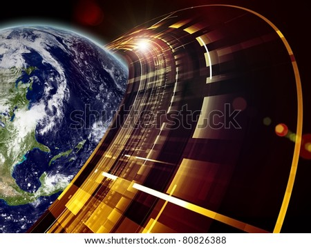 Montage of Earth globe Saturn like technological ring on the subject of modern technologies, communication and progress.  Earth imagery is a courtesy of Visible Earth (http://visibleearth.nasa.gov/) - stock photo