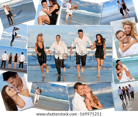 Montage of four friends, romantic couples men women enjoying a healthy active lifestyle on holiday vacation, at the beach playing games in the sea