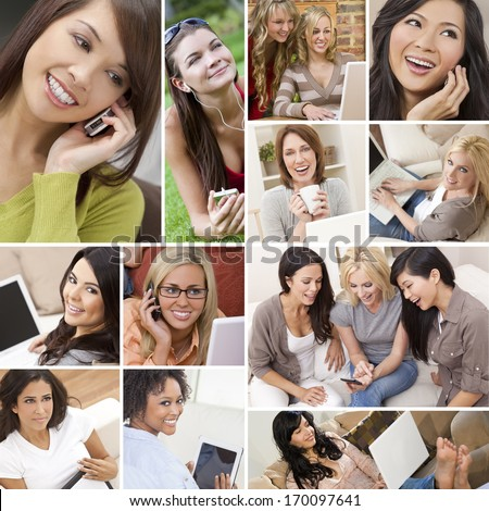 Montage of happy beautiful women, friends, using laptop and tablet computers, listening to music and talking on the phone, enjoying a modern lifestyle. - stock photo