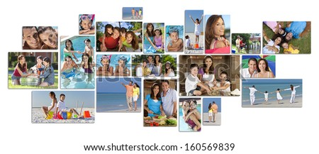 Montage of happy family parents and two children boy and girl enjoying an active lifestyle on holiday vacation, at the beach, playing in the swimming pool and cooking at home - stock photo