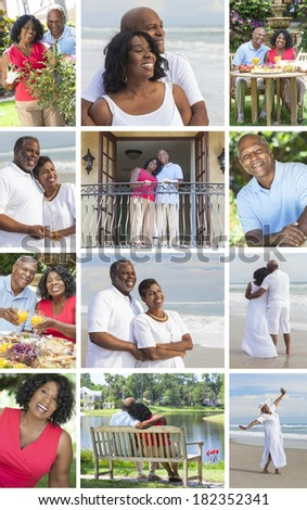 Montage of happy old senior African American man woman couples enjoying active retirement lifestyle relaxing on the beach in the garden & at home - stock photo
