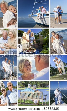 Montage of happy old senior man woman couples enjoying active retirement lifestyle on beach, gardening, playing golf & sailing on luxury yacht boat. - stock photo