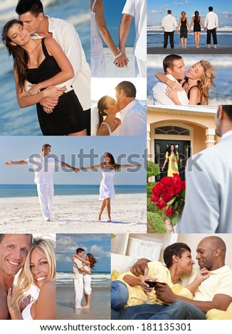 Montage of happy, romantic, mixed race couples enjoying a relaxing lifestyle, at beach embracing, holding hands, drinking wine at home in love. - stock photo