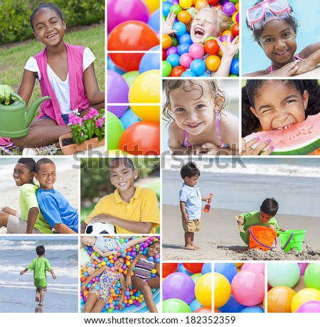 Montage of happy young multiracial children, girls and boys playing in swimming pool, at beach, cycling on bikes, gardening and in colourful ball pit - stock photo