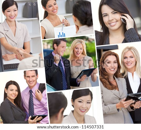 Montage of Interracial business group men & women, businessmen and businesswomen team outdoors and in an office using cell phones and tablet computers - stock photo