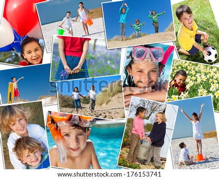 Montage of interracial group of happy children, girls and boys playing having fun in swimming pool, at the beach in fields and in the garden. - stock photo