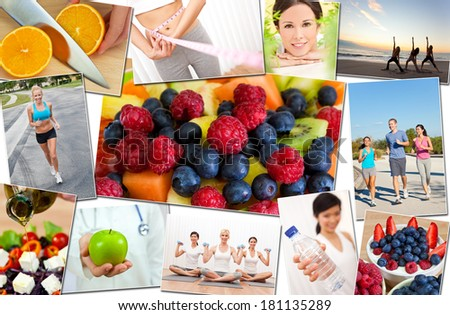 Montage of interracial men, women people working out at gym, active exercising on the beach, yoga, jogging running and enjoying healthy food, fruit & vegetables - stock photo