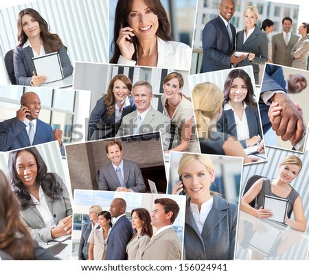 Montage of interracial successful business people, men and women in office meetings, on cell phones, using tablet computers and agreeing business deals. - stock photo