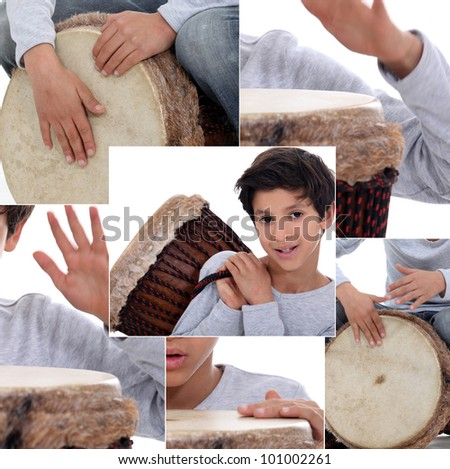 Montage of little boy with African drum - stock photo