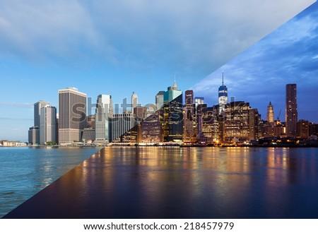Montage of Manhattan skyline night to day - New york - USA - stock photo