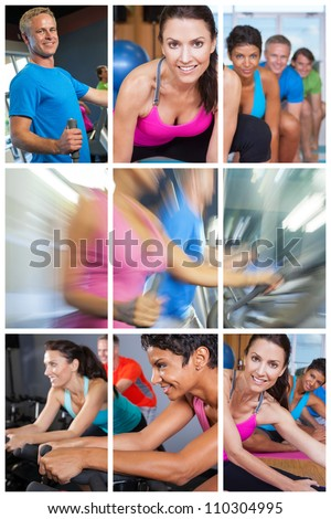 Montage of people exercising at gym on equipment and yoga. - stock photo