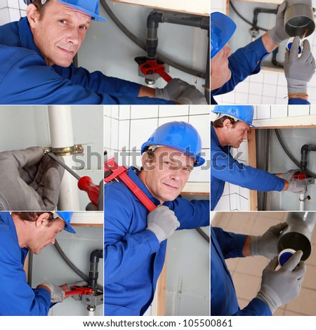 Montage of plumber working on sink - stock photo