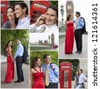 Montage of romantic man and woman couple on vacation seeing the sights and landmarks in London, England, Great Britain - stock photo