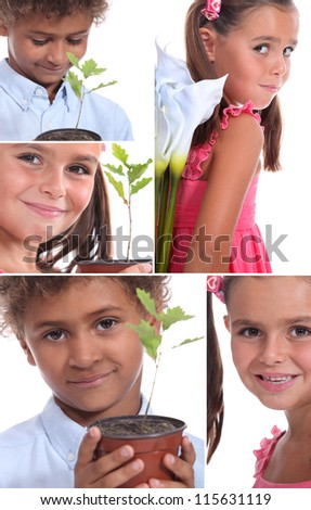 Montage of two children with plants - stock photo