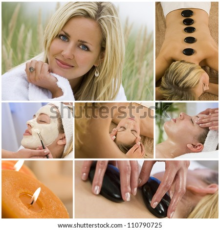 Montage of young beautiful women relaxing at a health spa having beauty treatments - stock photo