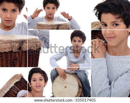 Montage of young boy with African drum - stock photo
