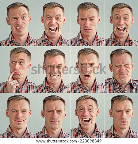 montage photo of facial expressions of a young man - stock photo
