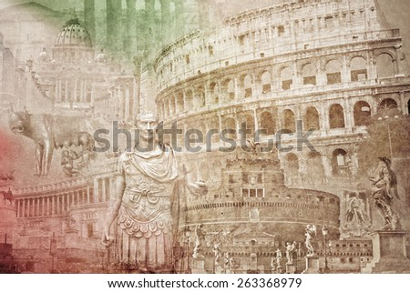 montage photo of Rome on vintage paper - stock photo