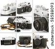 Montage with closeups of a vintage camera. - stock photo