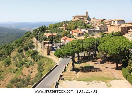 Montalcino, home of Brunello wine. Tuscany, Italy - stock photo
