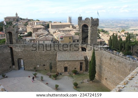 Montalcino, Italy, August 25 2014: View of Montalcino city from its Castle, an ancient building symbol of the city