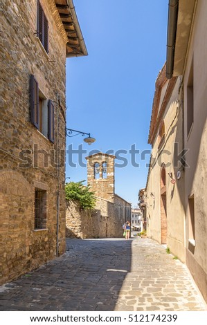 MONTALCINO, ITALY - SEP 1, 2015: Beautiful view from the bell tower