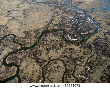Montana aerial of the Missouri river headwaters.  The western terminus of the great plains. - stock photo