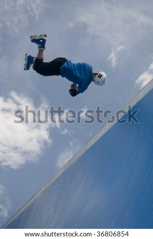 MONTANA, BULGARIA - SEPT. 5: Rich Parker of  England  participate at the Bulgarian Inline Halfpipe Championship in Montana, Bulgaria, September 5, 2009.